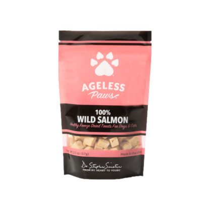 Ageless Paws 100% wild salmon freeze dried healthy dog and cat treats bag front view on a white background